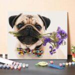 Mopszli Kutya És Virágok – számfestő készlet