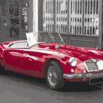 Piros Retró Autó _ számfestő készlet