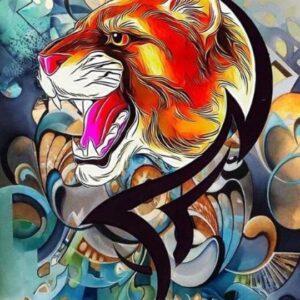 Absztrakt Tigris – számfestő készlet