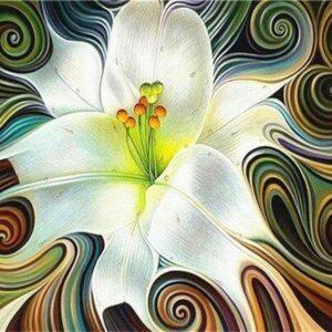 Absztrakt Fehér Virág – számfestő készlet